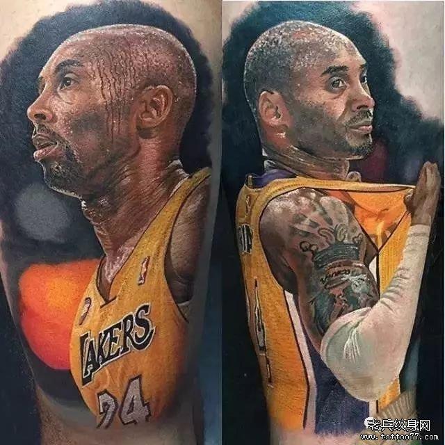 科比肖像纹身图案