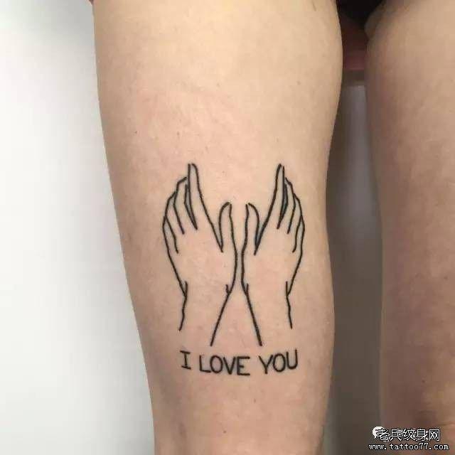 大腿线条简约手纹身图案图片