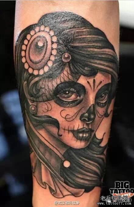 女郎纹身手稿图案图片