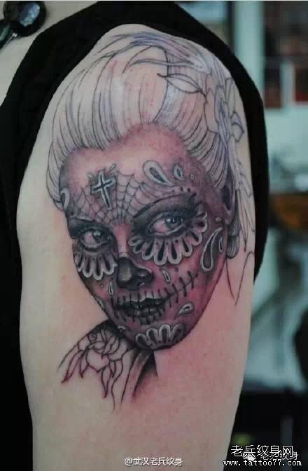 手臂女郎纹身图案-女郎纹身手稿图案图片