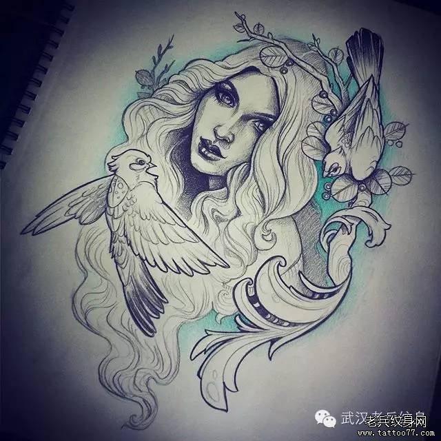 女郎纹身手稿图案