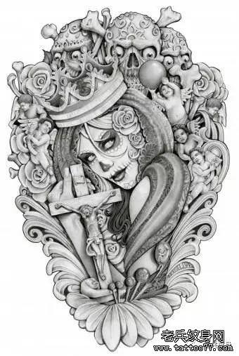 手臂几何肖像纹身图案
