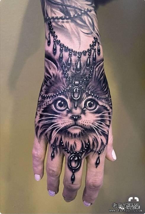 手背猫纹身图案