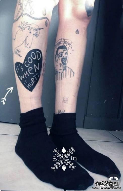 脚踝小清新字母纹身图案