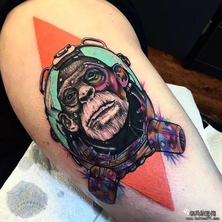 小腿纹身猴子手稿分享展示