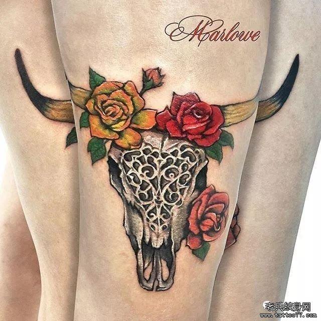 大腿牛纹身图案