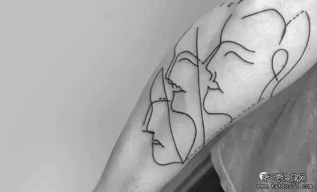 简约线条纹身图案