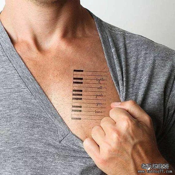 线条钢琴纹身图案