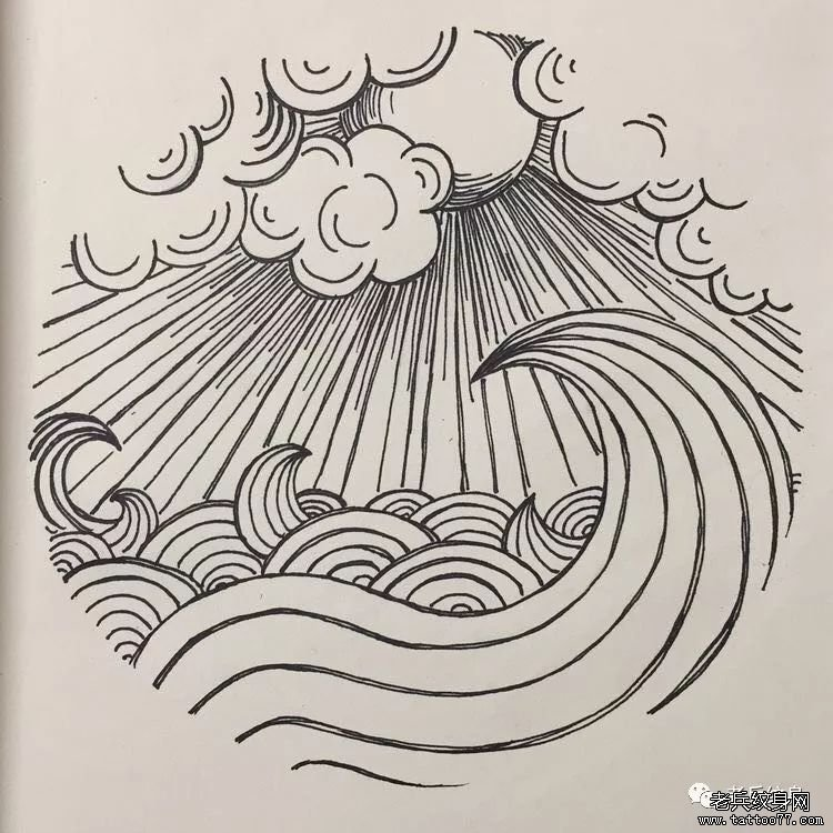 线条黑灰云浪纹身手稿图案