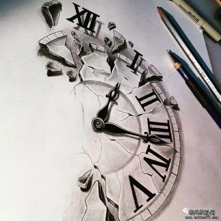 地裂钟表手稿纹身图案