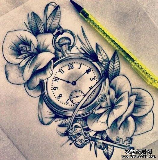 怀表花手稿纹身图案