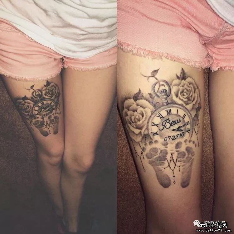 钟表大腿黑灰花纹身图案
