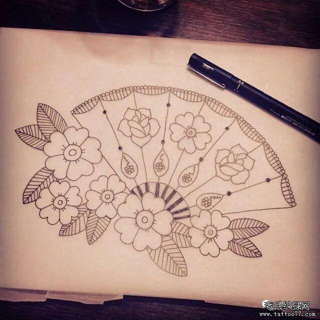 樱花扇子线条纹身手稿