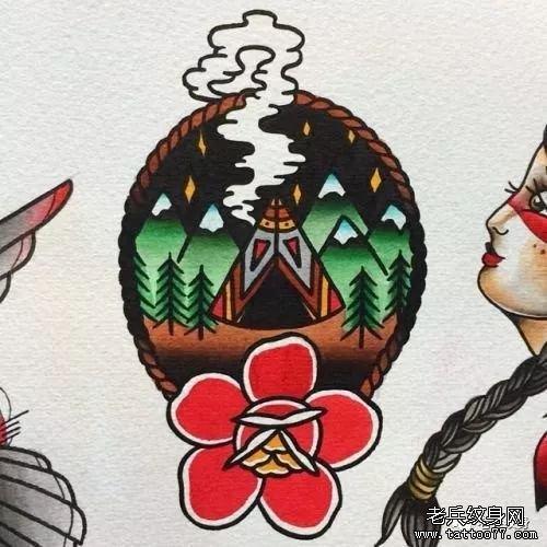 森林风景色彩school纹身手稿