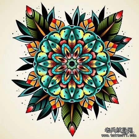 色彩花school纹身手稿图案