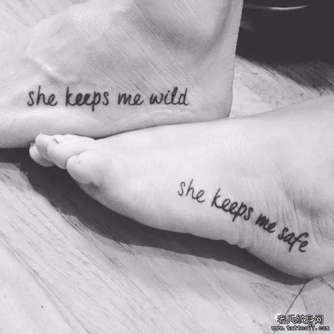 大腿一圈英文纹身图案分享展示