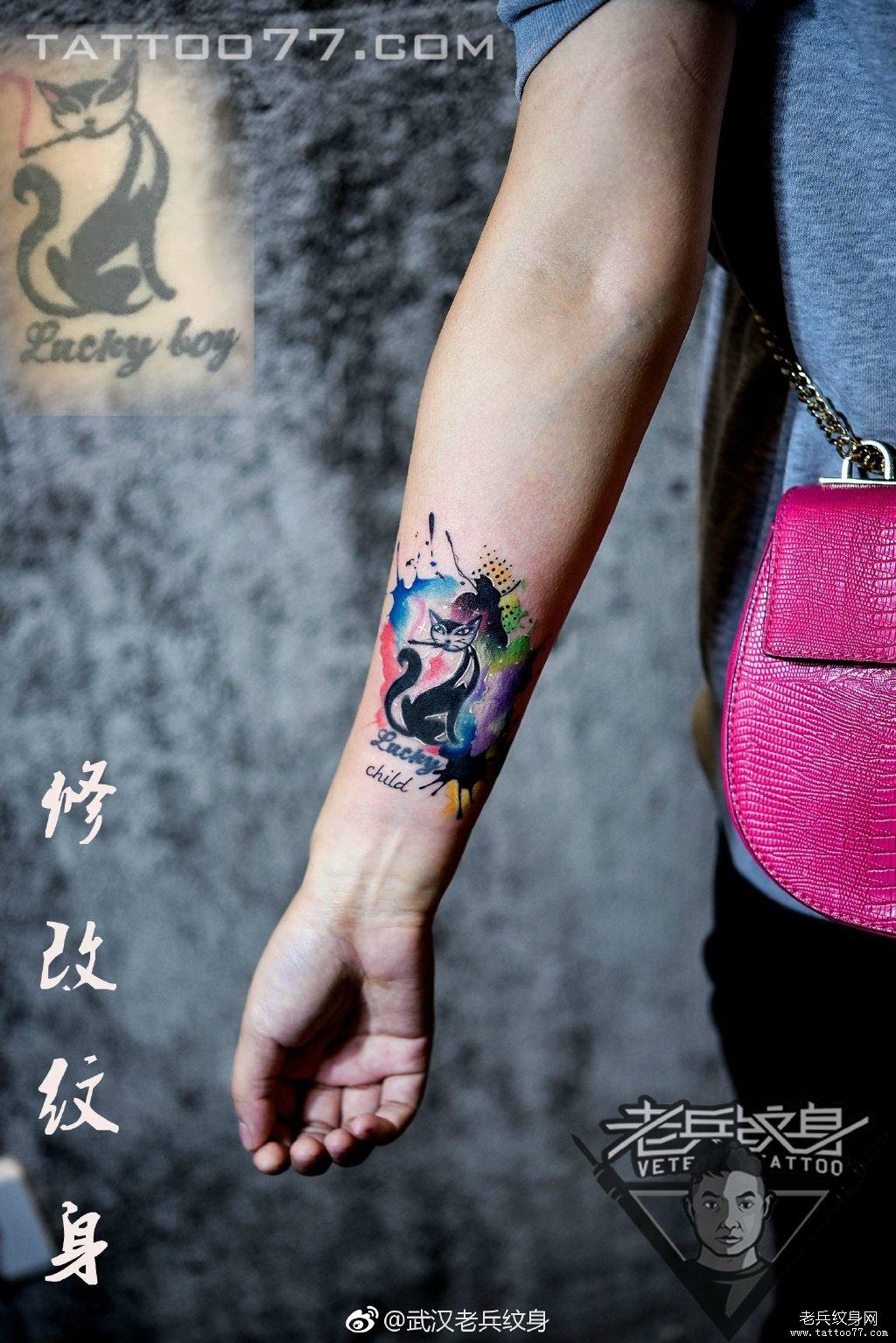 锁骨小清新英文小花纹身作品