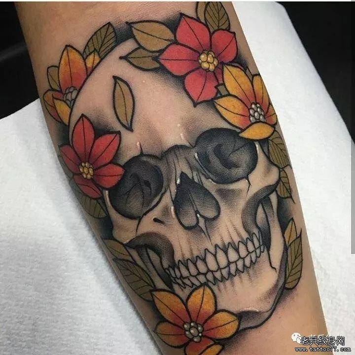 浏览  纹身素材第429期骷髅与花                小清新丨藤蔓和花环
