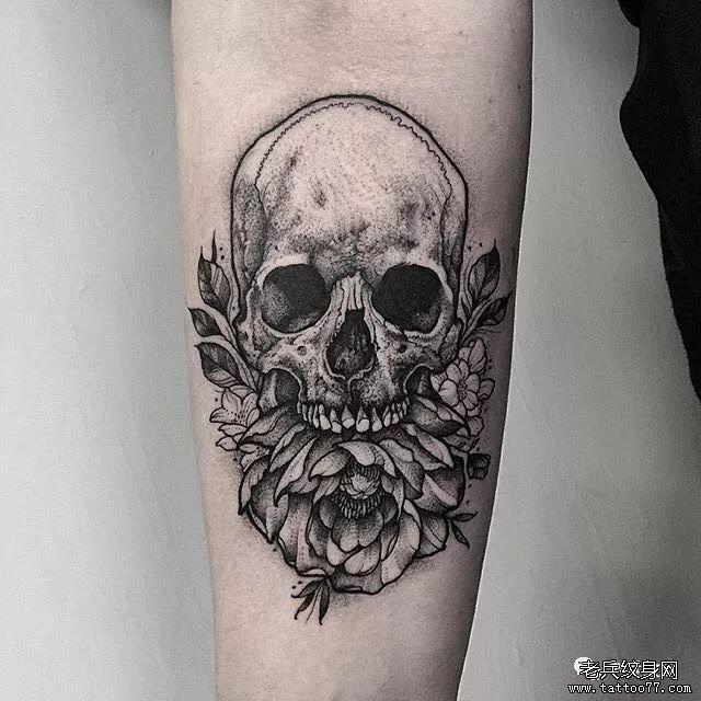 0 喜欢   浏览  纹身素材第429期骷髅与花                小清新丨