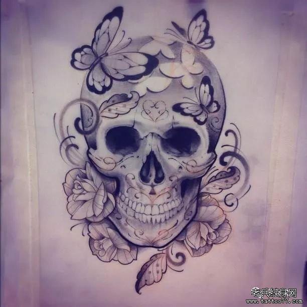 纹身素材第429期——骷髅与花
