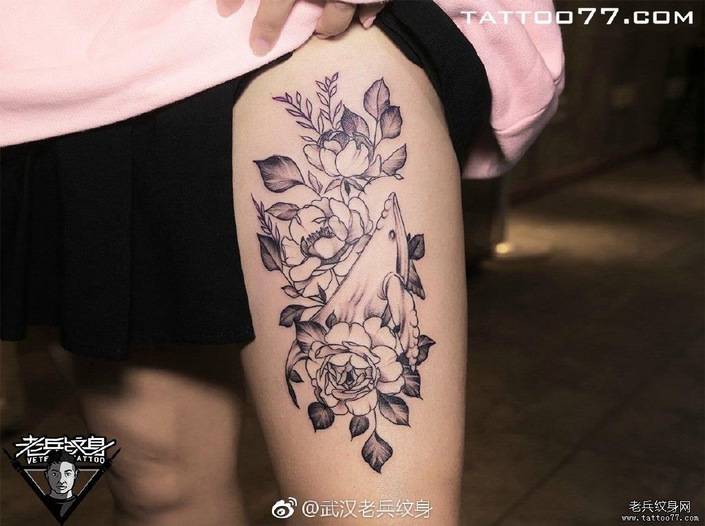 手臂色彩骷髅纹身图案图片
