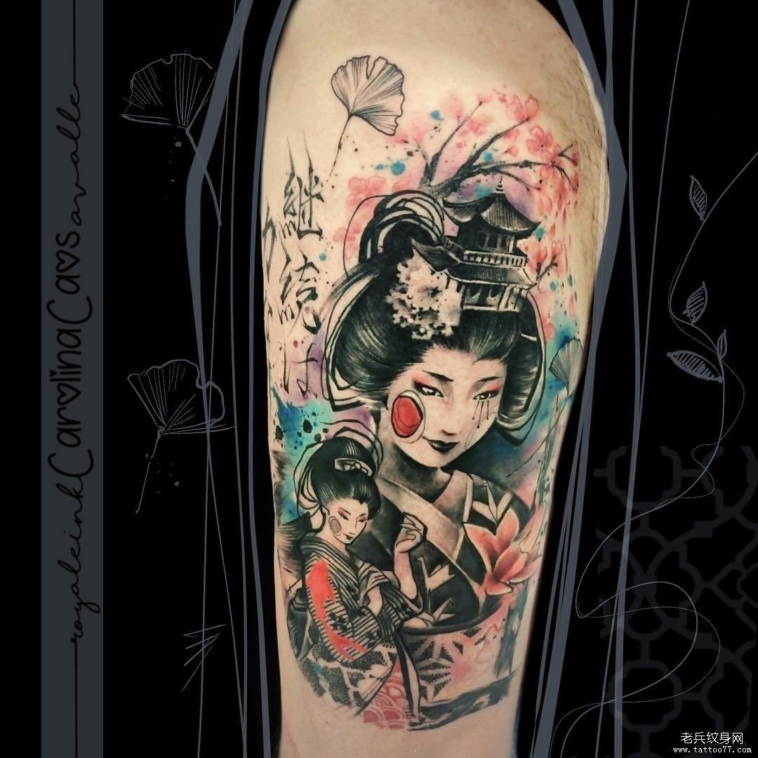 大腿艺妓色彩人物纹身图案