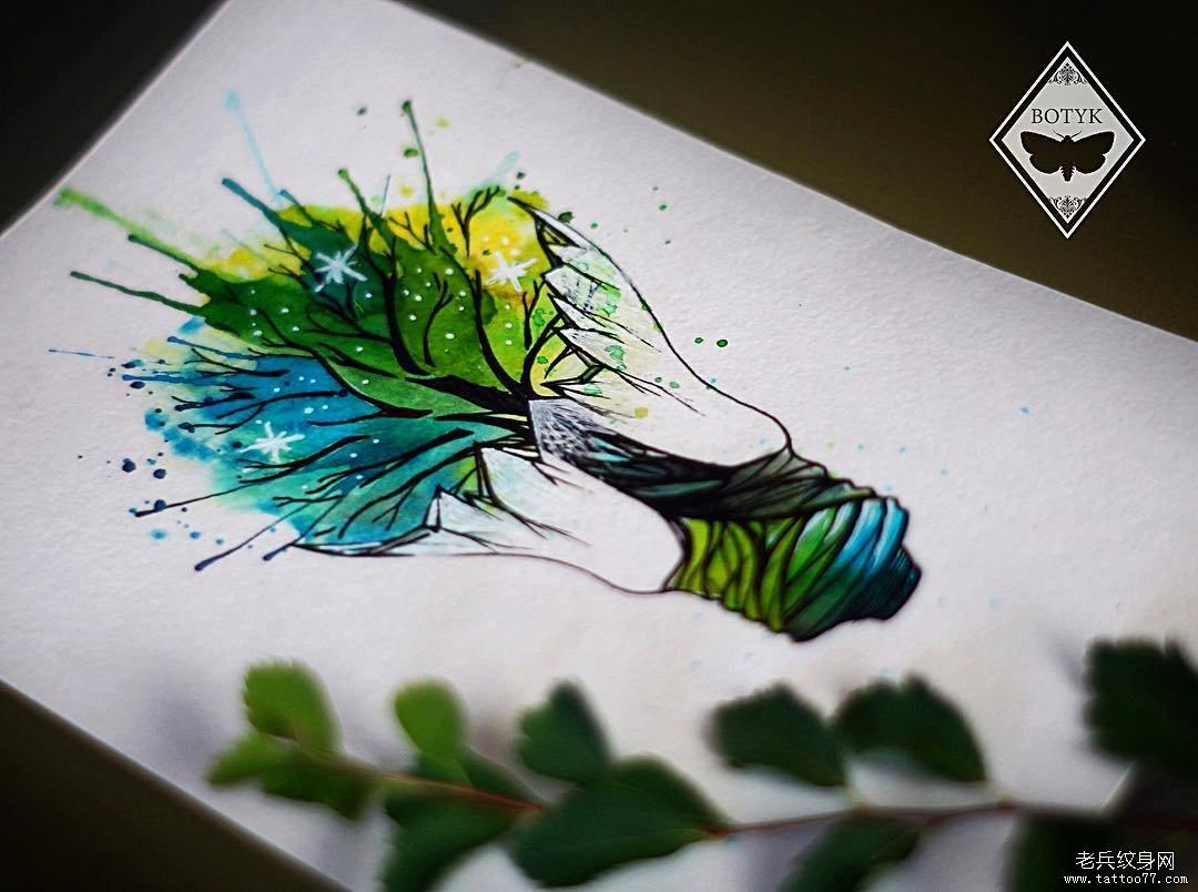 灯泡树手稿简约纹身图案
