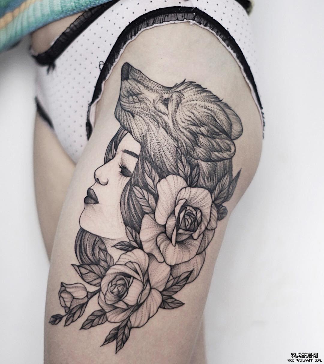 黑灰女郎大腿纹身图案