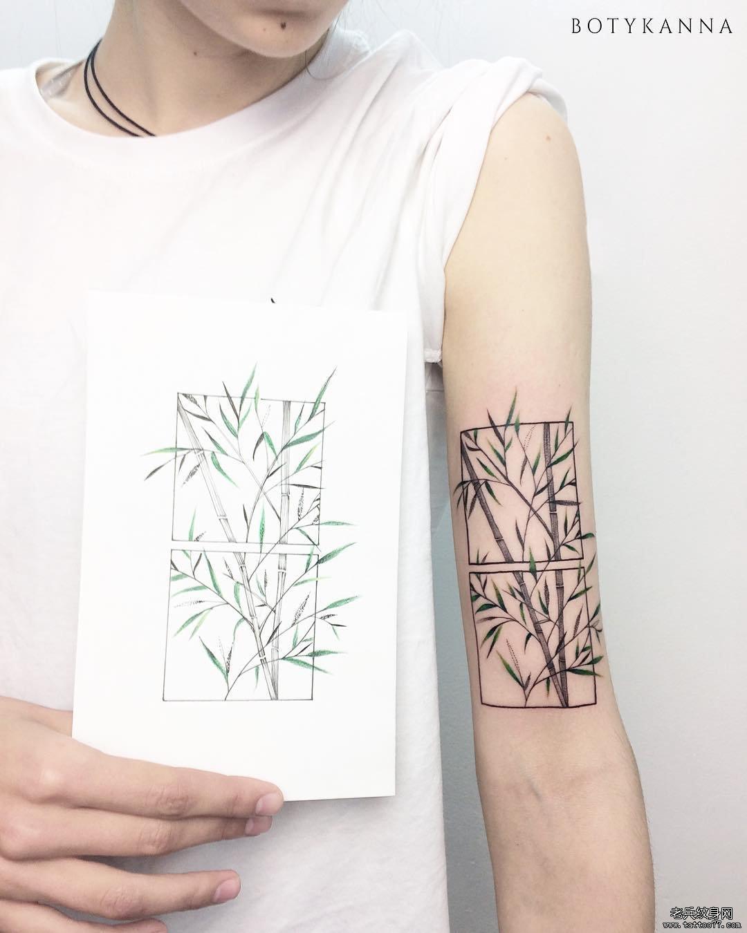简约竹子几何纹身图案