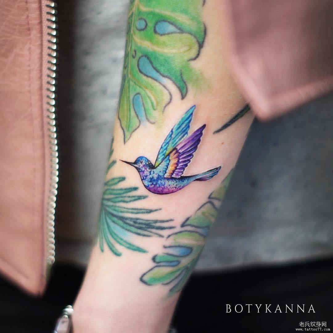 手臂几何点刺船风景纹身图案