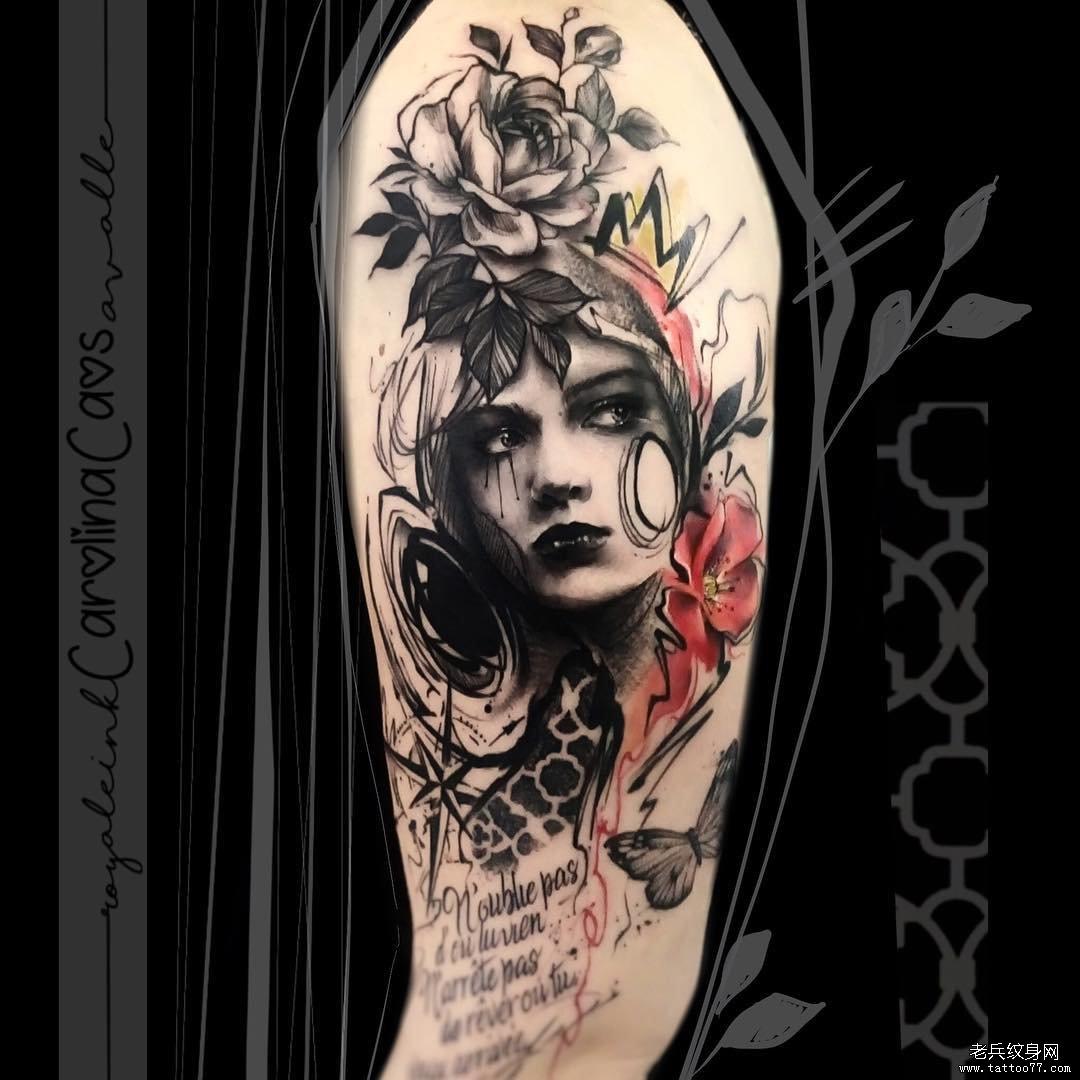 肖像女郎色彩大腿花纹身