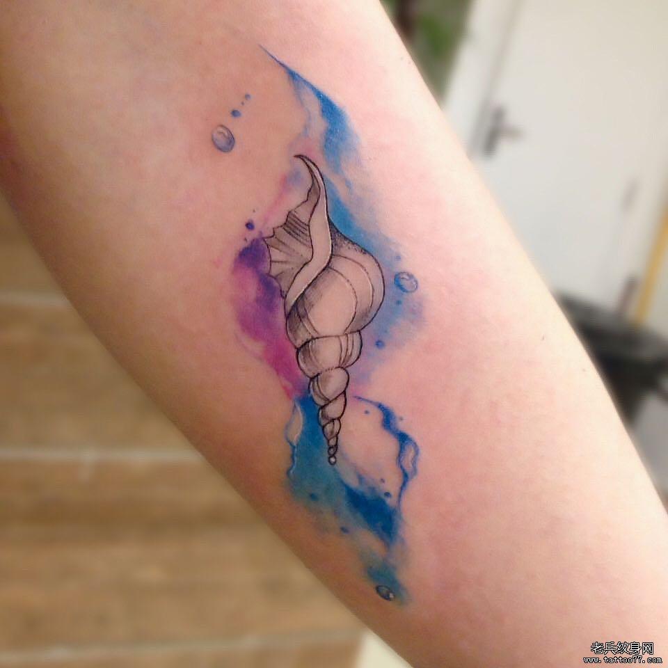 小臂海螺泼墨纹身图案
