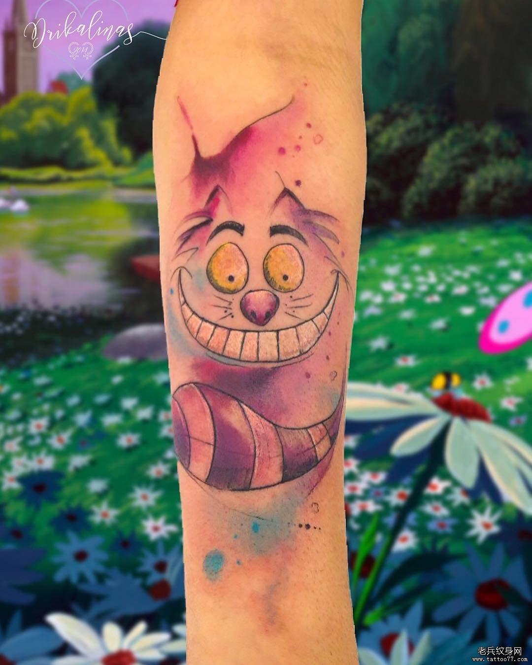 小腿可爱卡通小猫纹身图案
