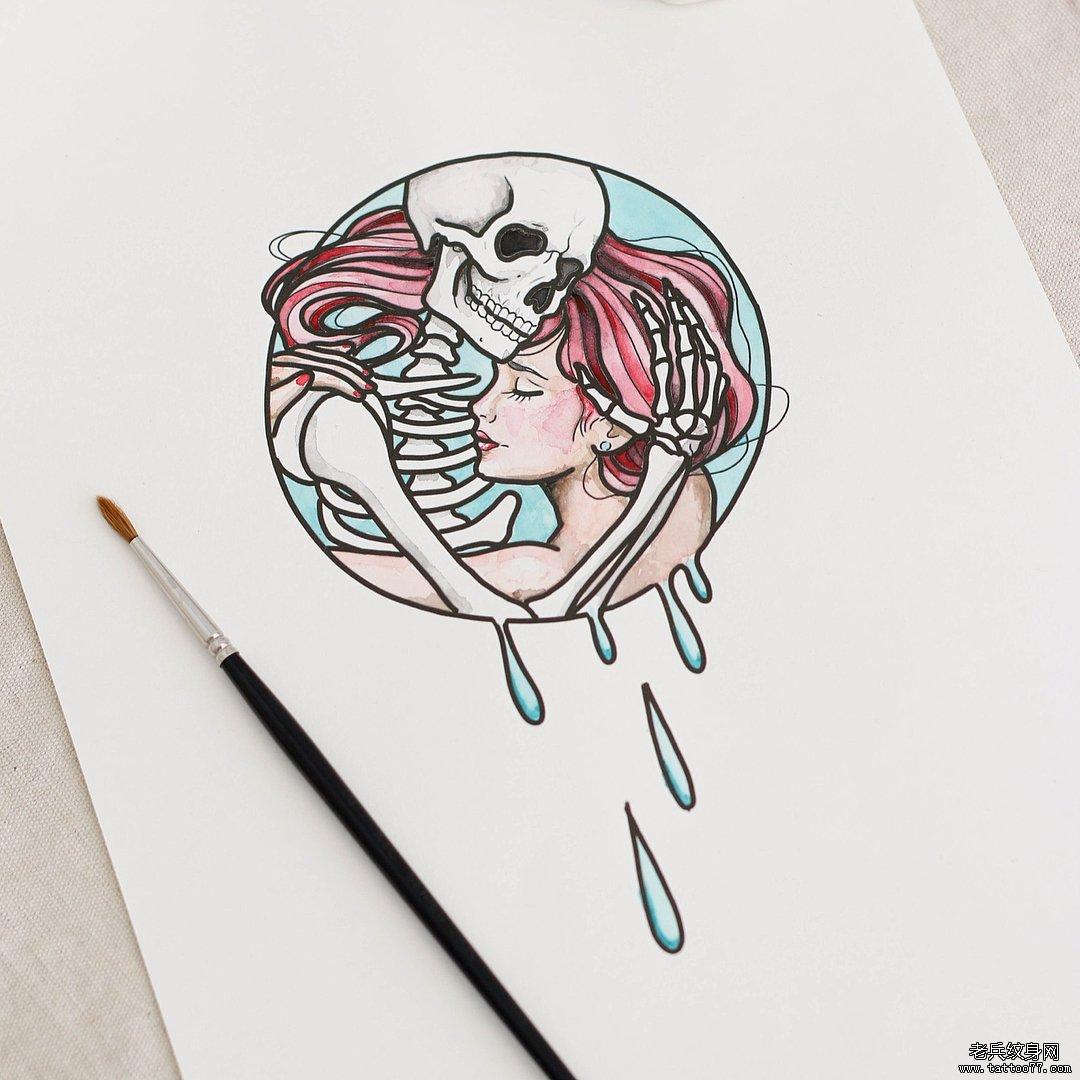 色彩法老猫纹身