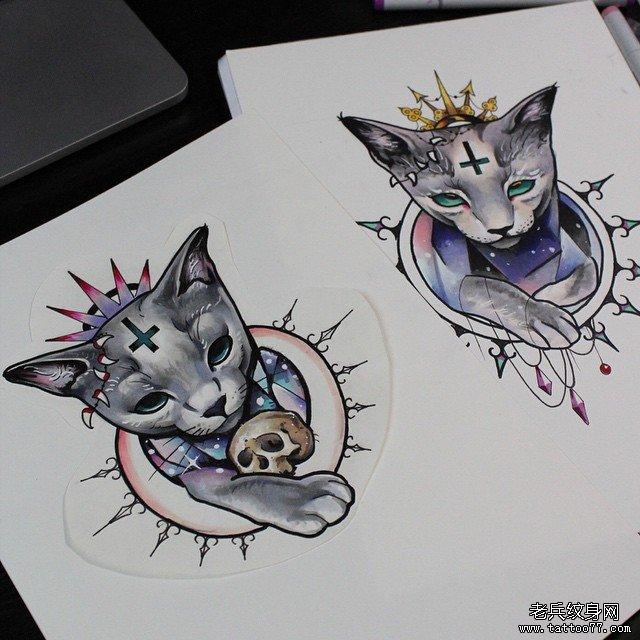 猫咪纹身手稿纹身图案图片