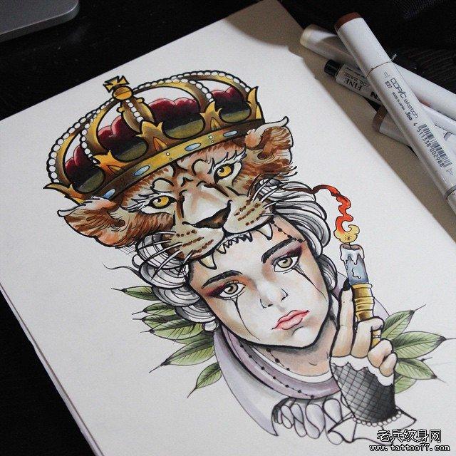 女郎老虎纹身手稿图案图片