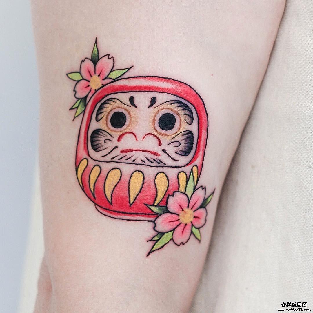 色彩达摩小清新纹身