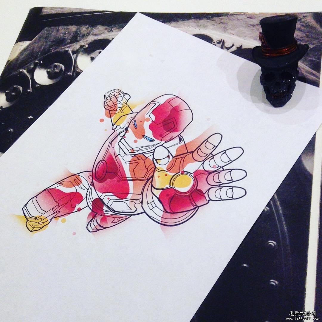 鹿色彩纹身手稿图案