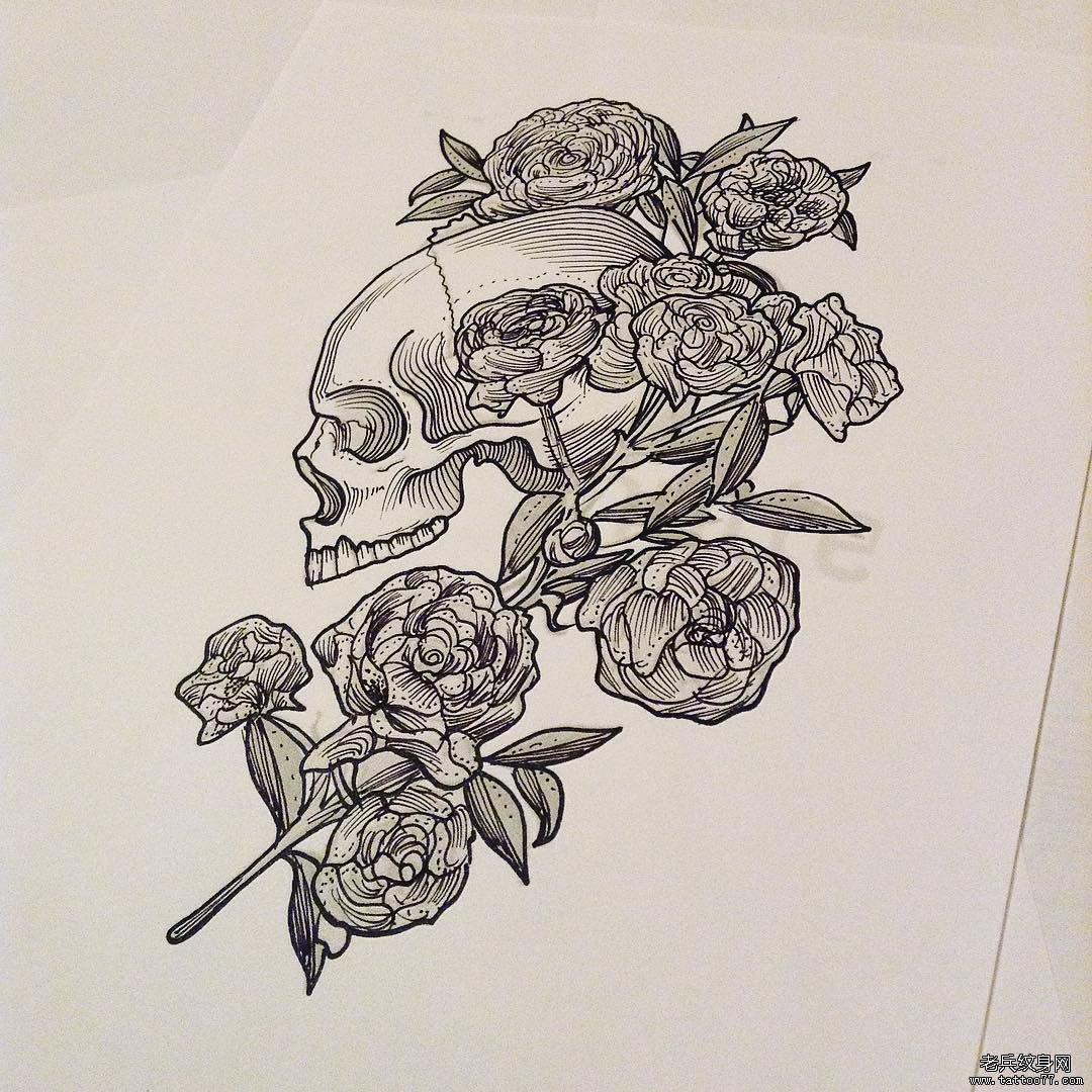 骷髅玫瑰纹身手稿图案