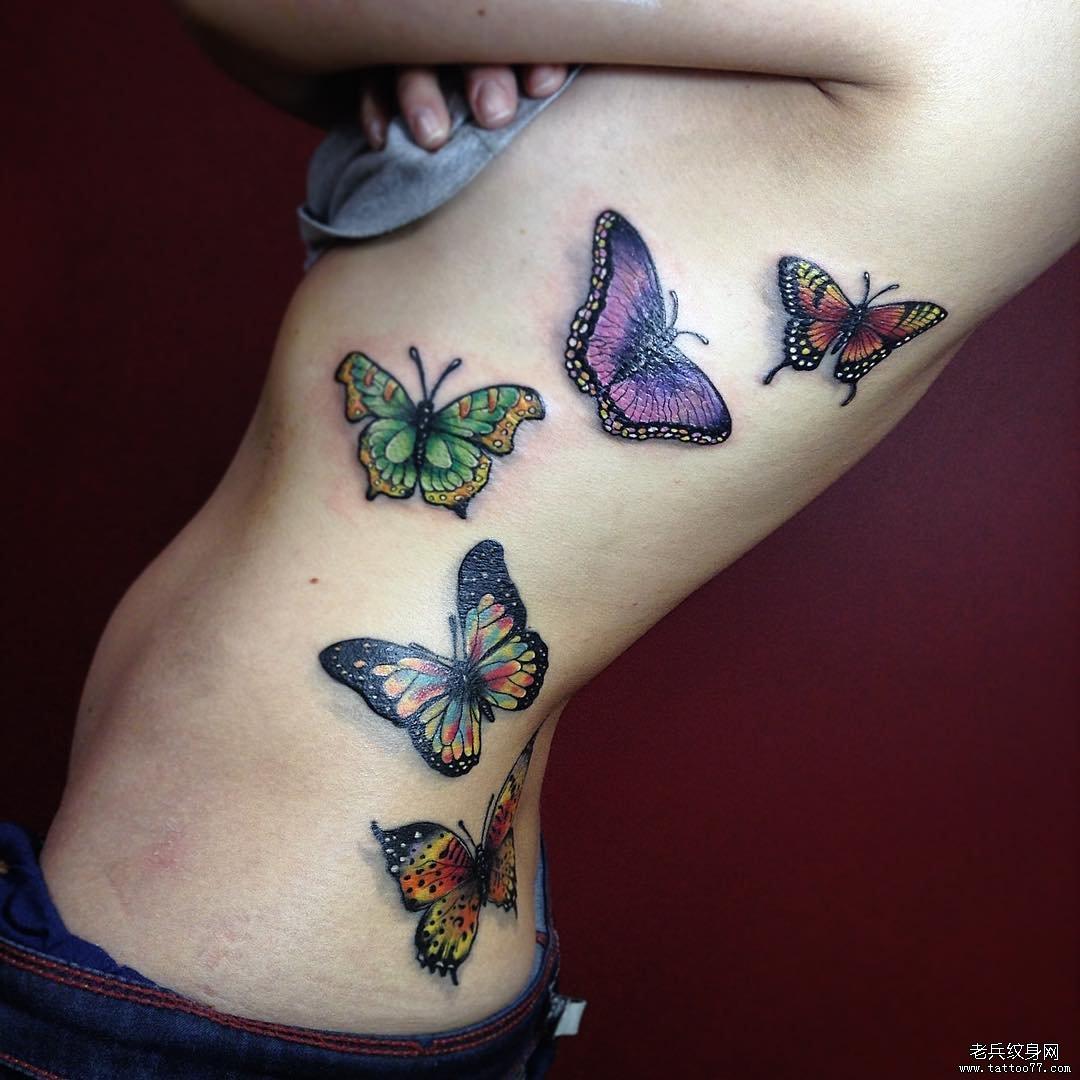 侧腰色彩蝴蝶纹身图案