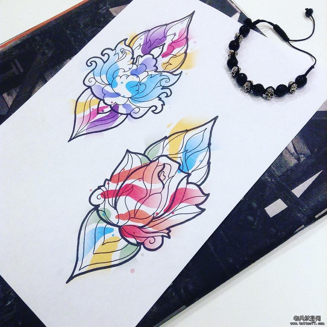 色彩花纹身手稿图案