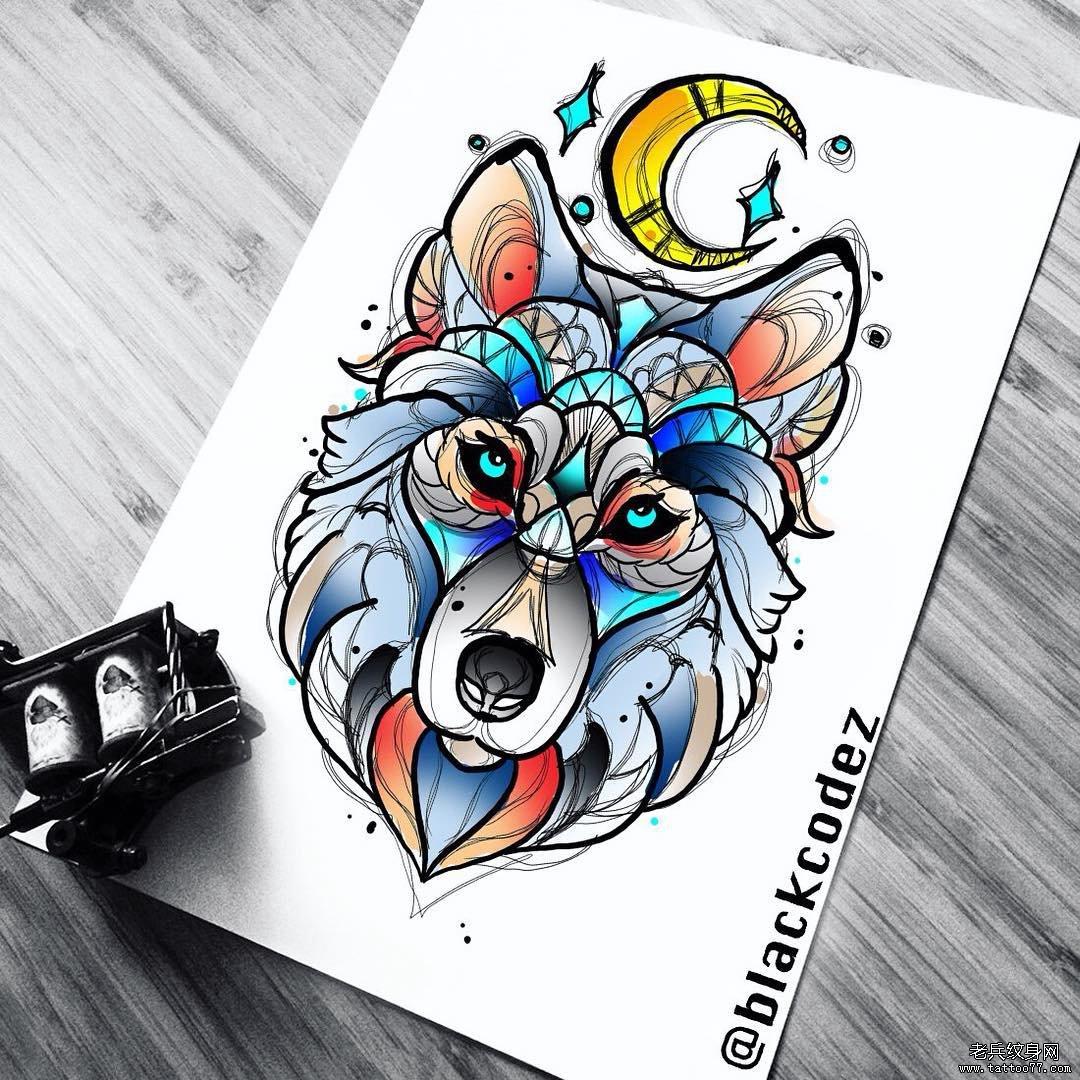 色彩狼纹身手稿纹身图案