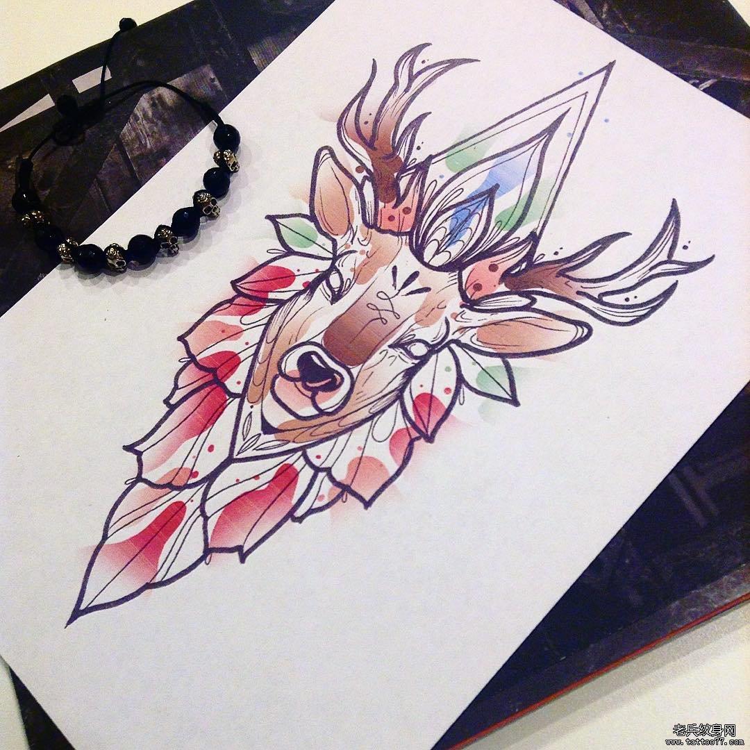 色彩鹿纹身手稿图案