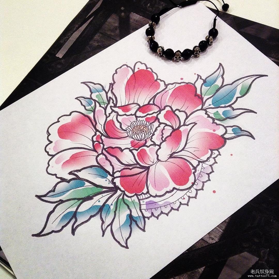 色彩牡丹花纹身手稿