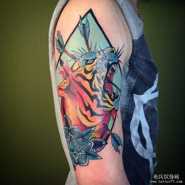 手臂线条星球纹身图案