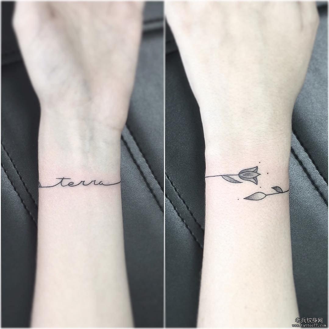 手腕线条花手环纹身图案