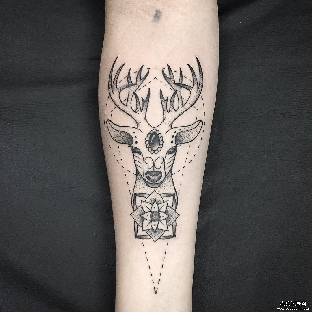 手臂简约小清新花纹身图案