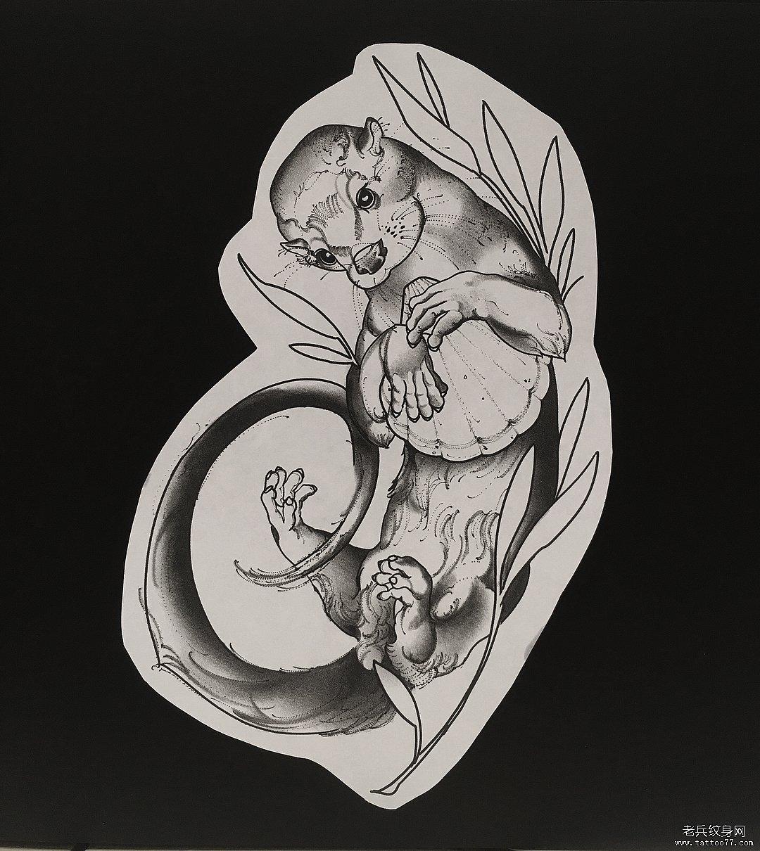 黑灰水懒手稿纹身图案