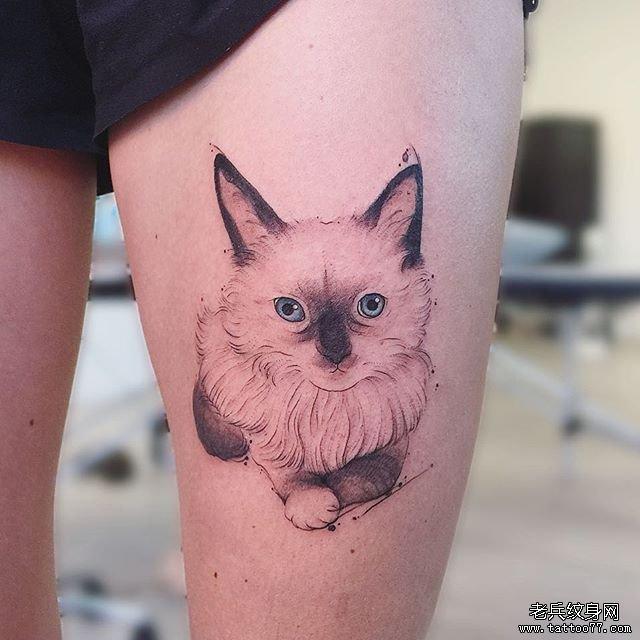 大腿色彩暹罗猫纹身图案