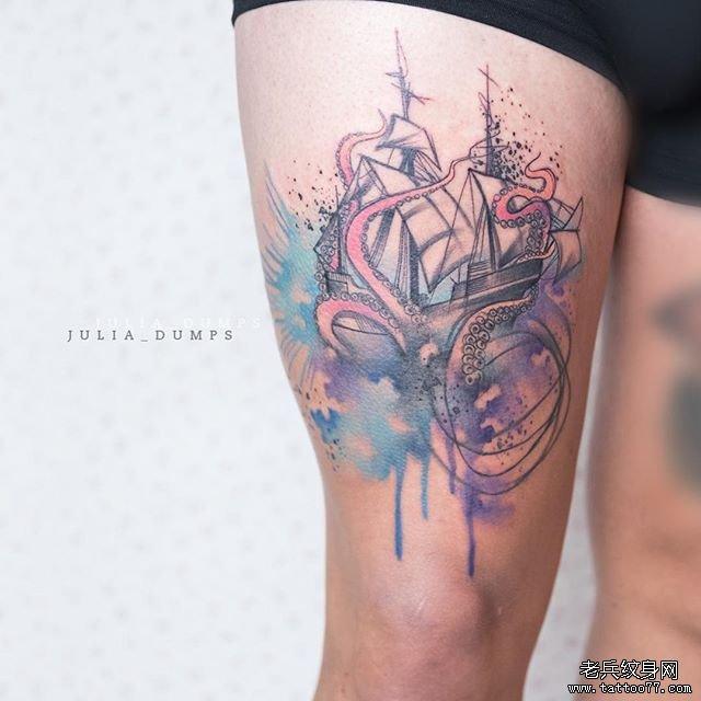 大腿色彩章鱼帆船纹身图案